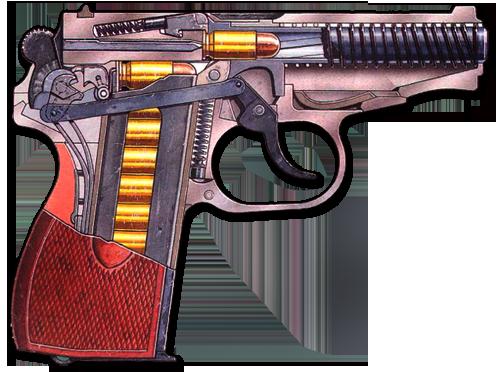 Пистолет Макарова в разрезе