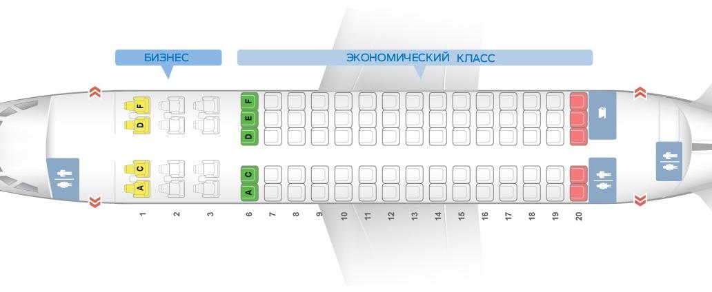 Схема мест самолёта сухой суперджет