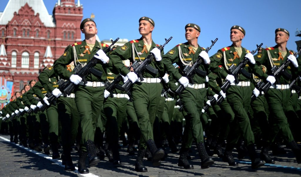 Russian soldiers march in Moscow