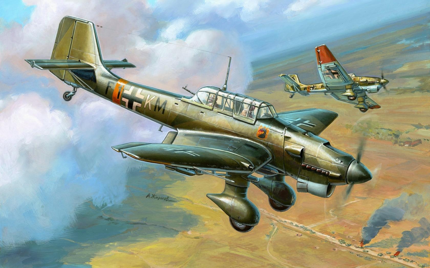 Обои война, сражение, сбитый юнкерс, рисунок. Авиация foto 16