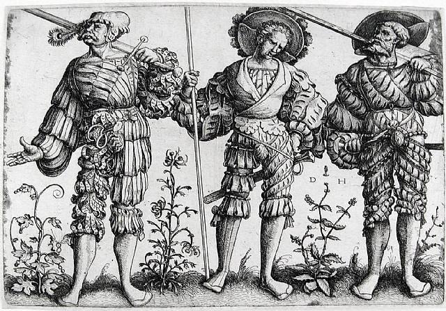 Мечники на средневековой картине