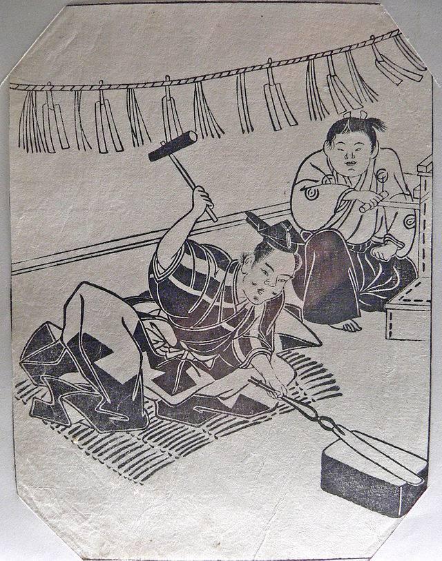 Японская гравюра ковки меча