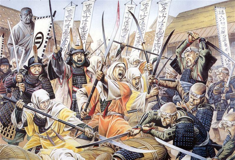 Японская гравюра средневековой битвы