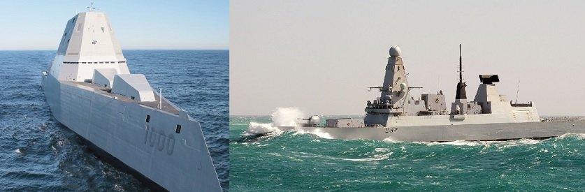 Американский и британский корабли типа «Zumwalt» и «Daring»