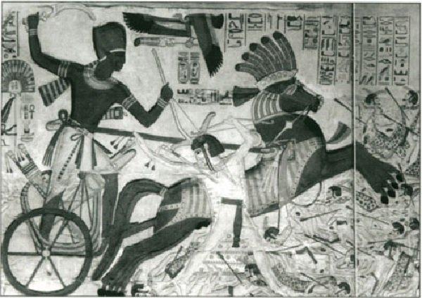 Фреска - воин на колеснице с хопешом