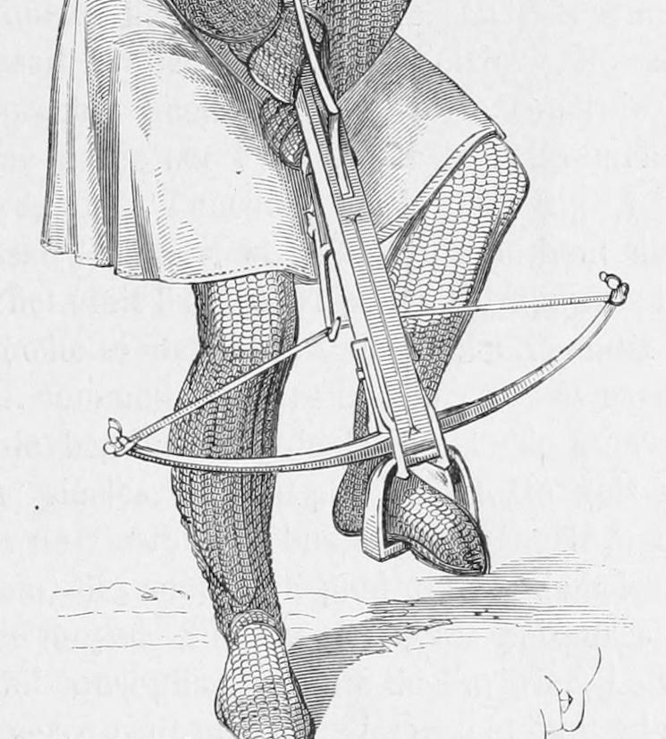Натяжение арбалета ногой
