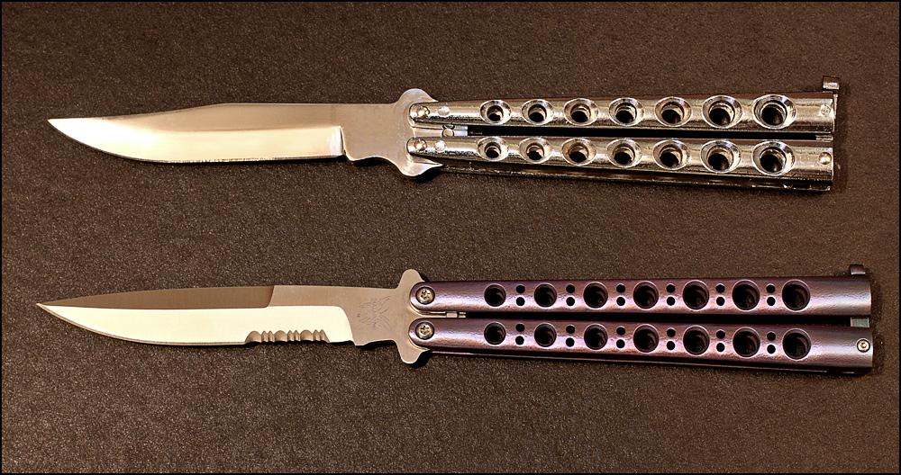 Ножи-бабочки с прямым и зазубренным лезвием