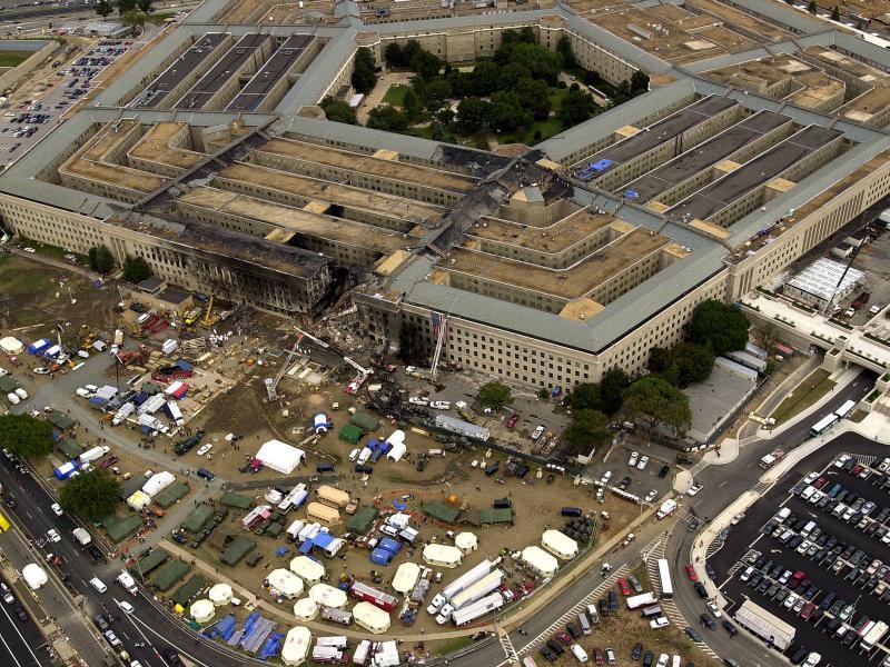 Разрушенное здание Пентагона