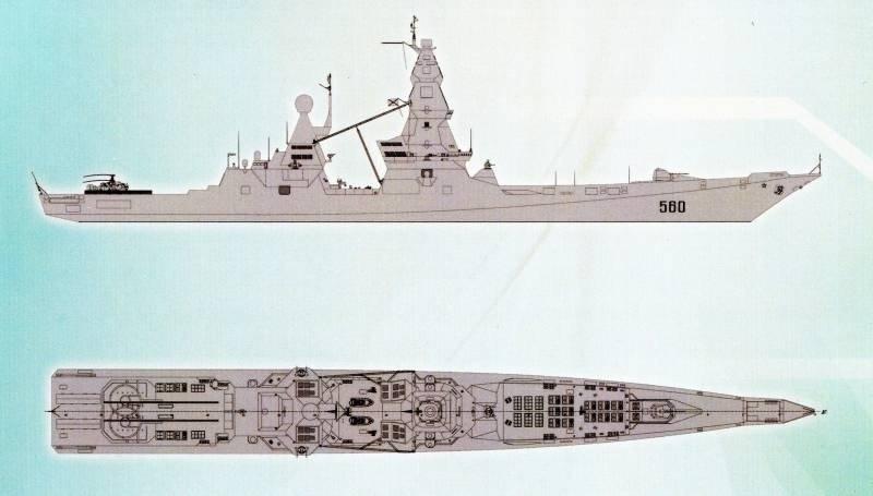 Схема эсминца проекта 23560
