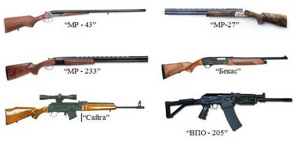 Виды гладкоствольного оружия