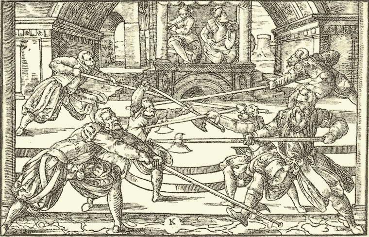 Итальянская гравюра, изображающая дуэль
