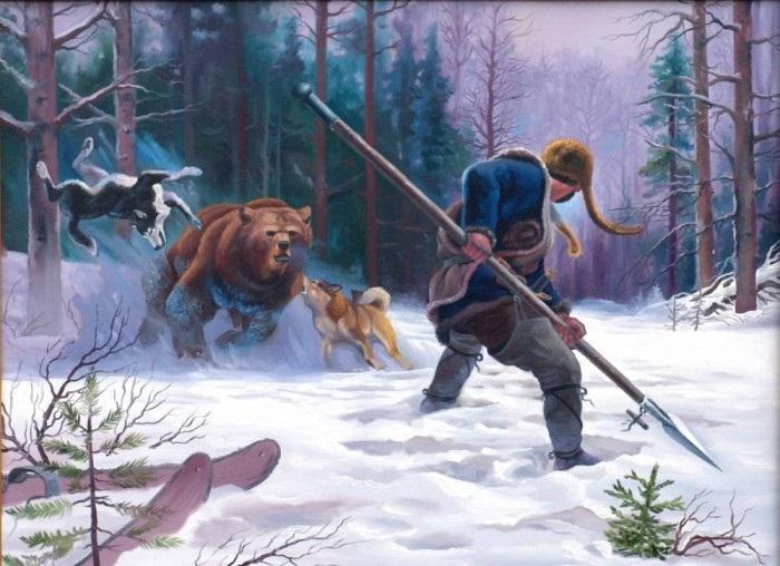 Охота на медведя с собаками и рогатиной