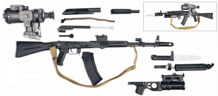 Разобранный АК-74