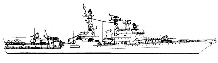 Схема фрегата в профиль