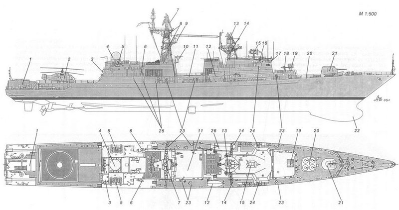 """Схема корабля типа """"Ястреб"""""""