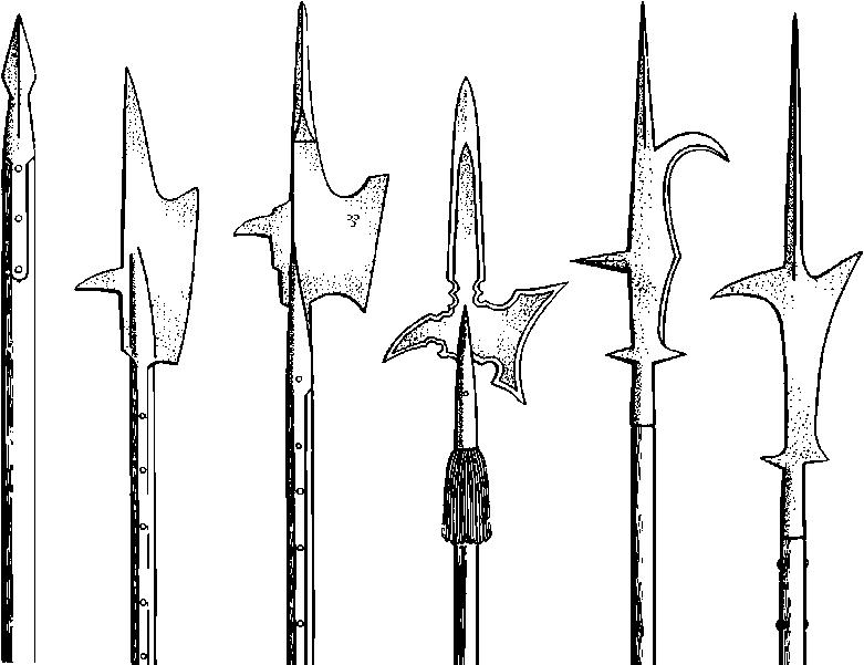 Алебарды, применяемые против конницы