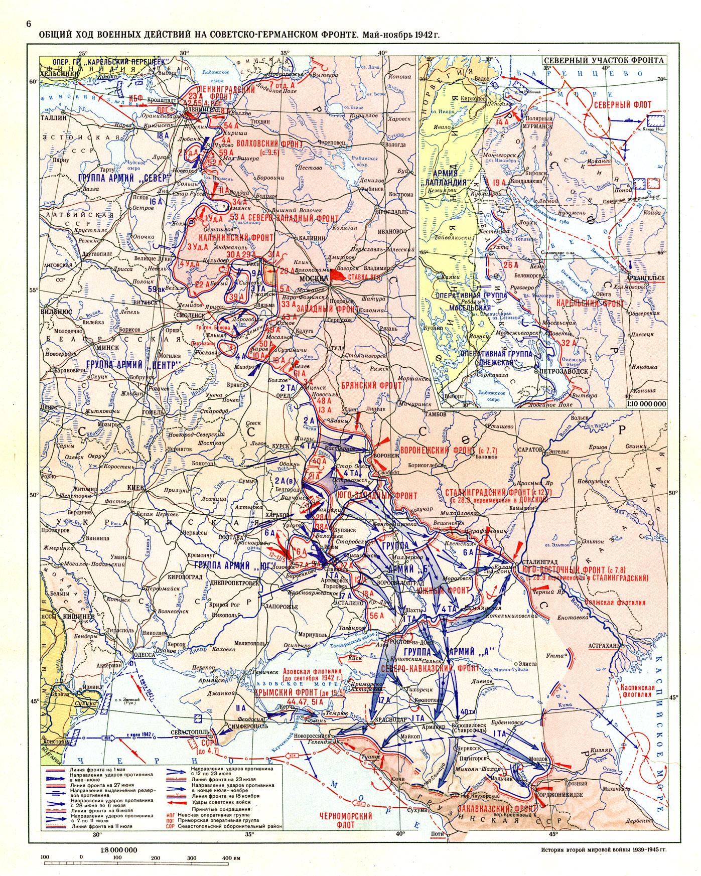 Общий ход военных действий 1942