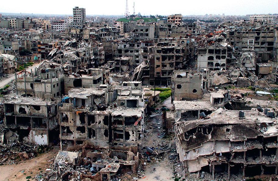 Разрушенный город в Сирии