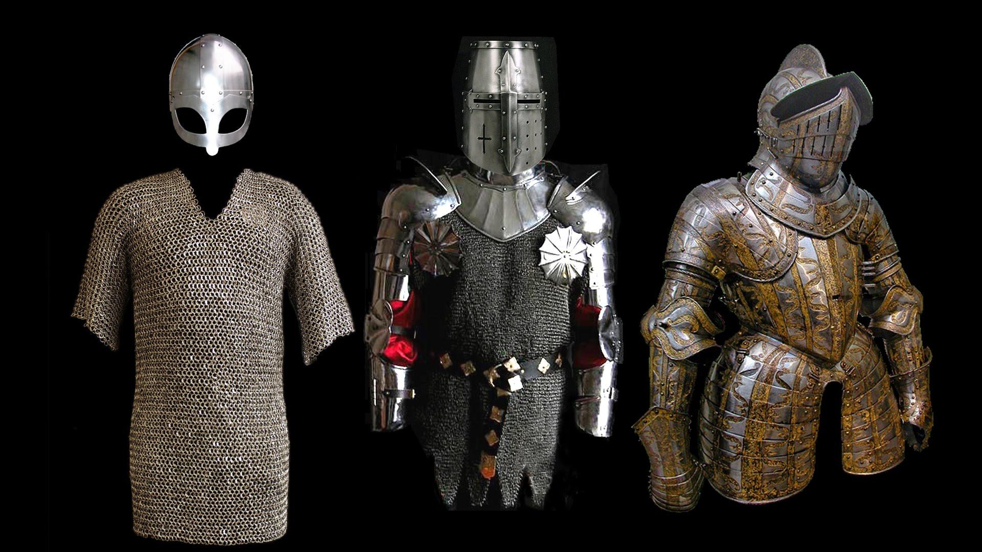 Средневековые кольчуги, шлемы и доспехи