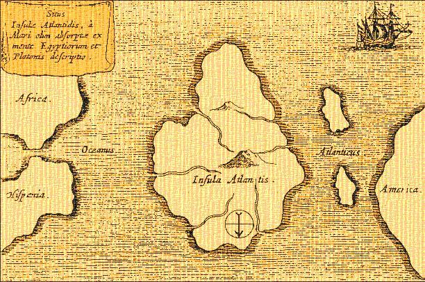 Карта с изображением Атлантиды