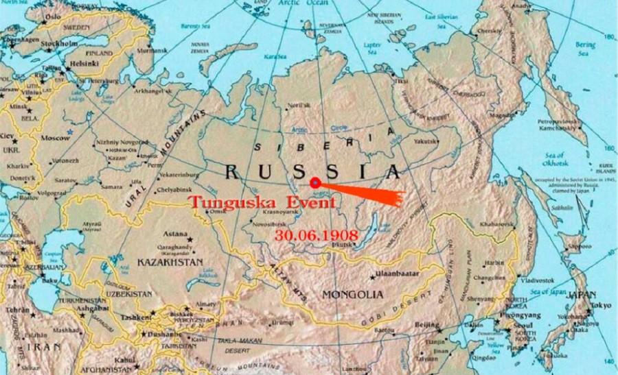 Карта с указанием места падения