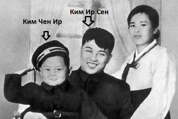 Ким Чен Ир с родителями