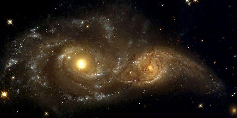 Столкновение двух спиральных галактик