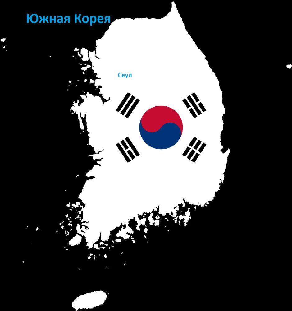 Южная Корея: карта и флаг