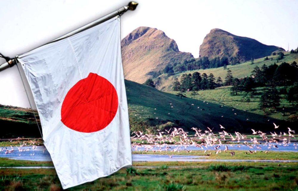 Флаг Японии на фоне пейзажа