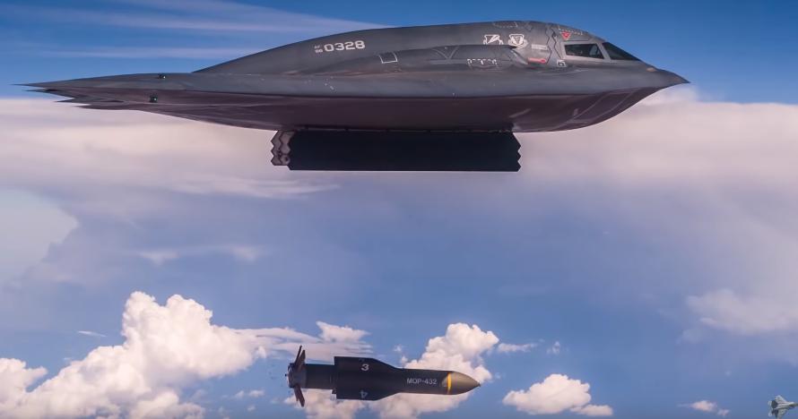 B-2 Spirit сбрасывает бомбу GBU-57