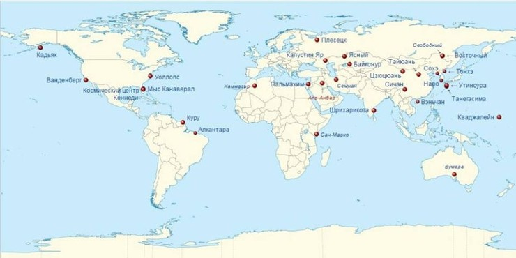 Карта расположения космодромов