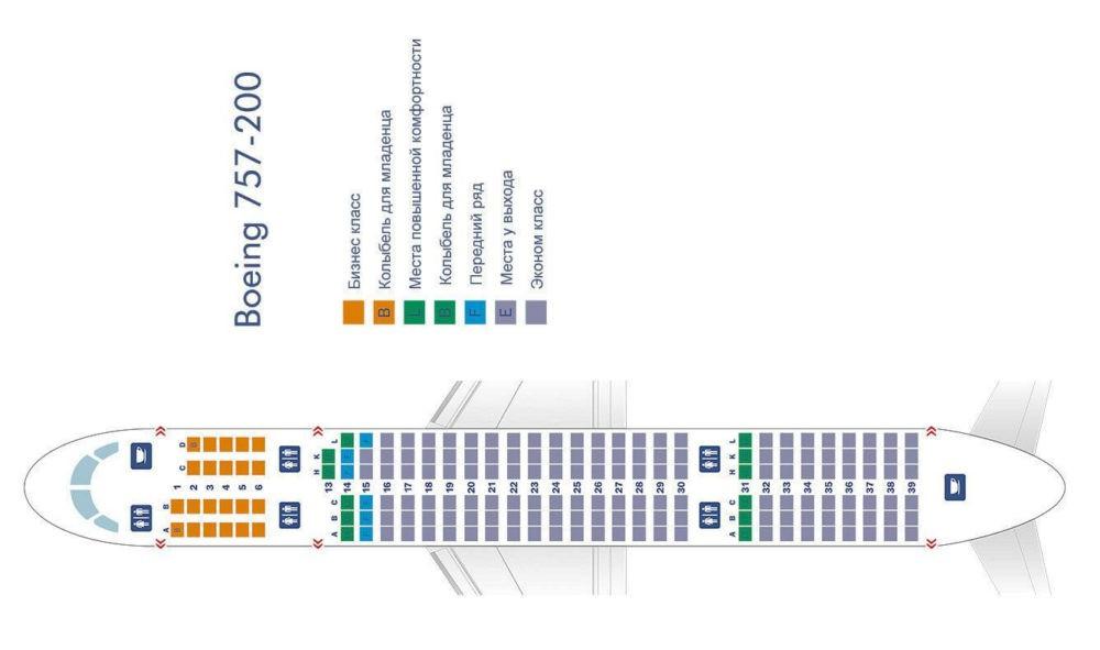 Схема салона «Боинг 757 200» с бизнес-классом