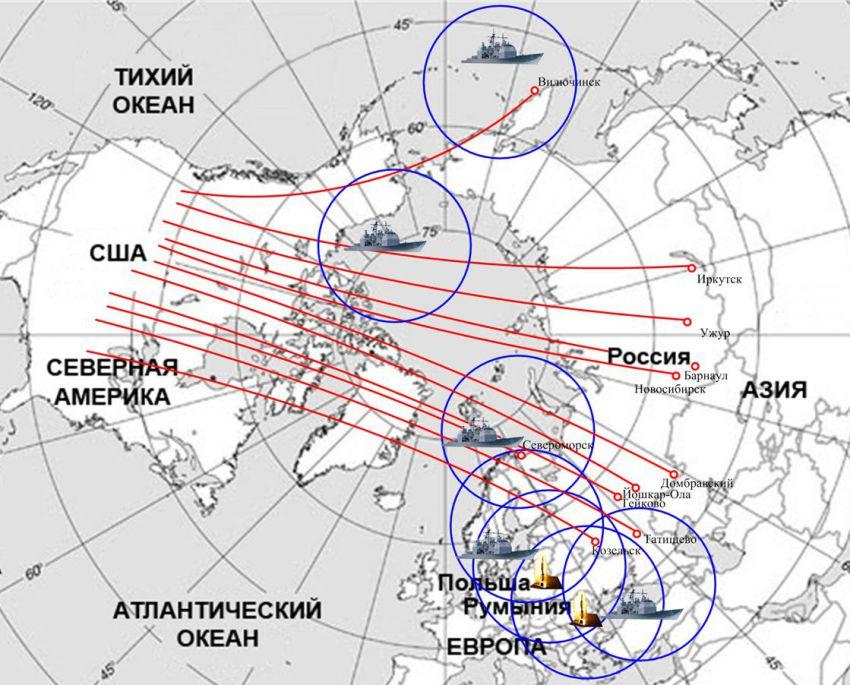Схема ядерного удара по США