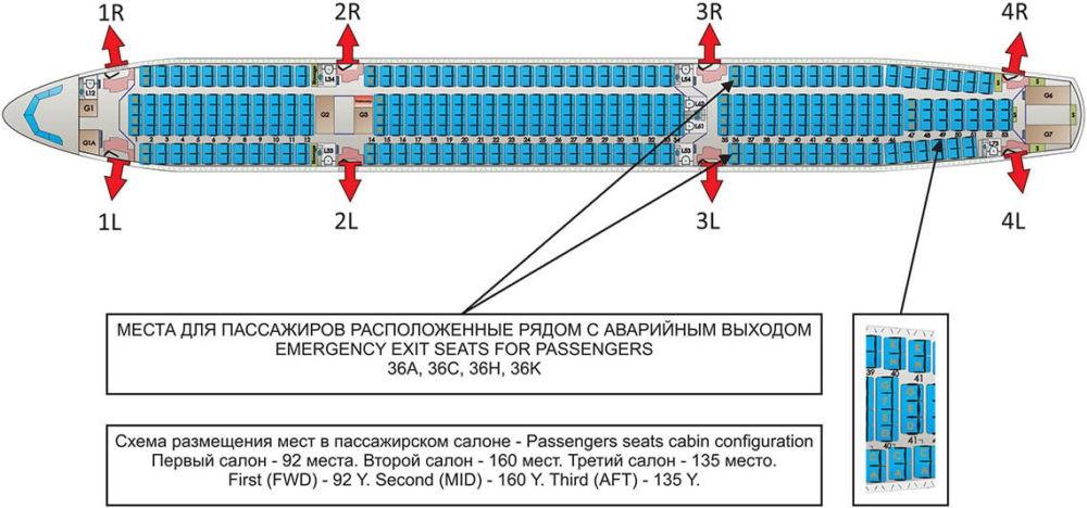 Схема одноклассного салона А330