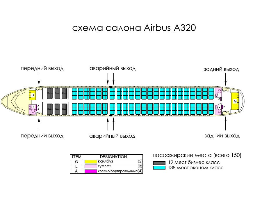 Схема салона A320