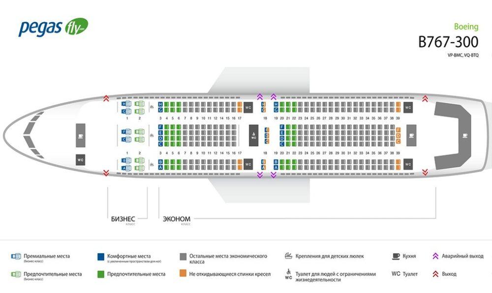 Схема салона Boeing 767