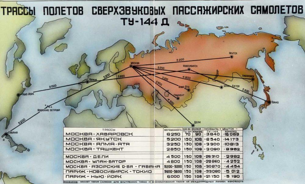 Трассы полетов Ту-144Д
