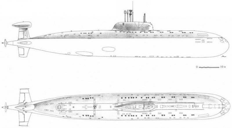 Эскиз АПЛ проекта 945