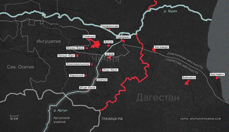 Карта КТО в Чечне