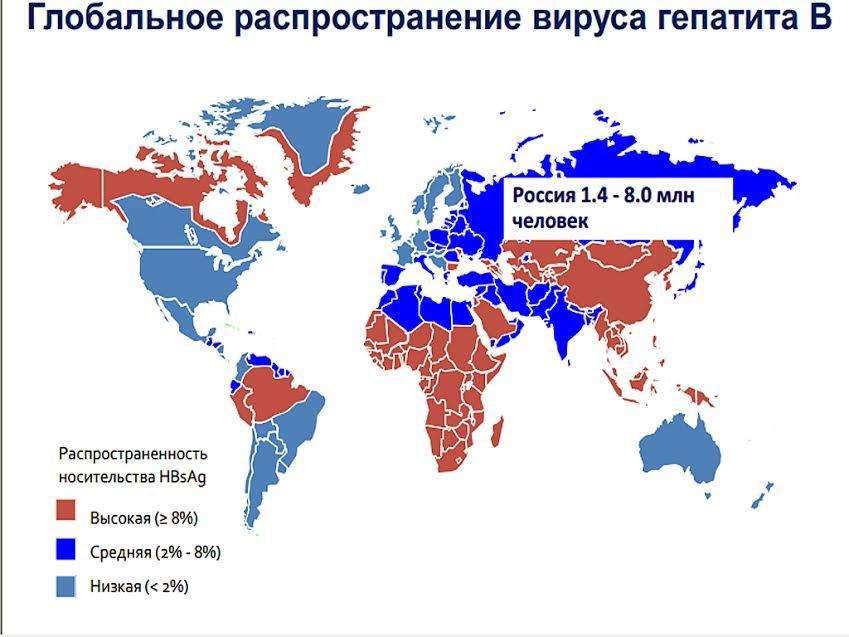 Гепатит B в мире