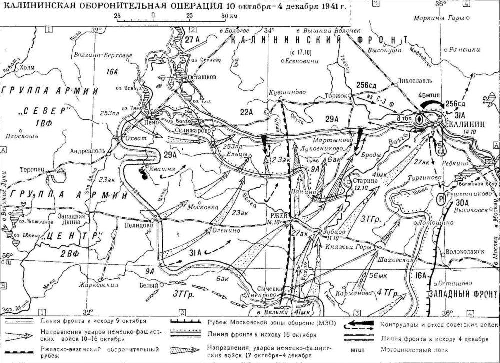 Схема Калининской оборонительной операции