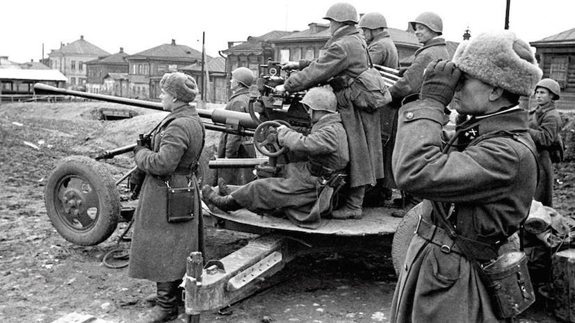 Советские зенитчики в районе Тулы