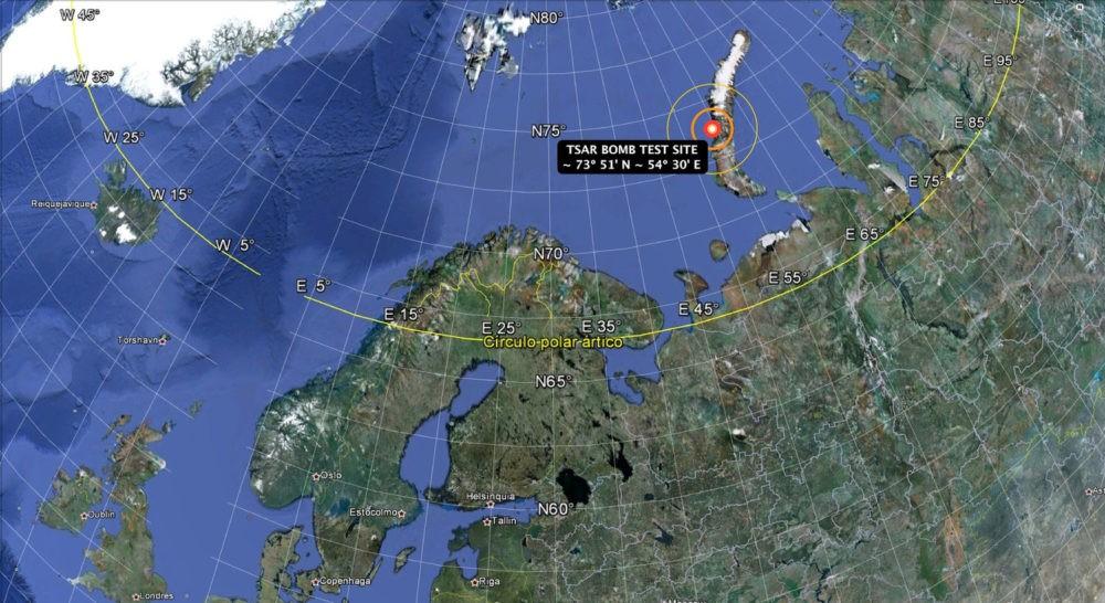 Карта испытаний «Царь-бомбы»