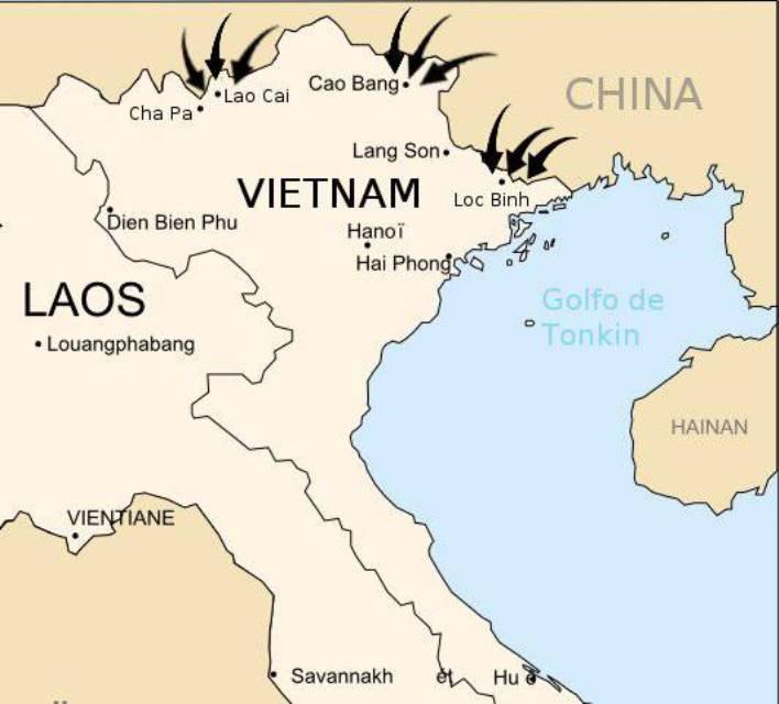 Схема ударов Китая по Вьетнаму