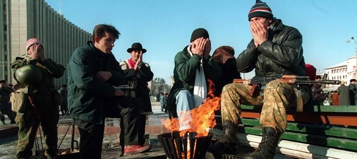 Молящиеся в Грозном