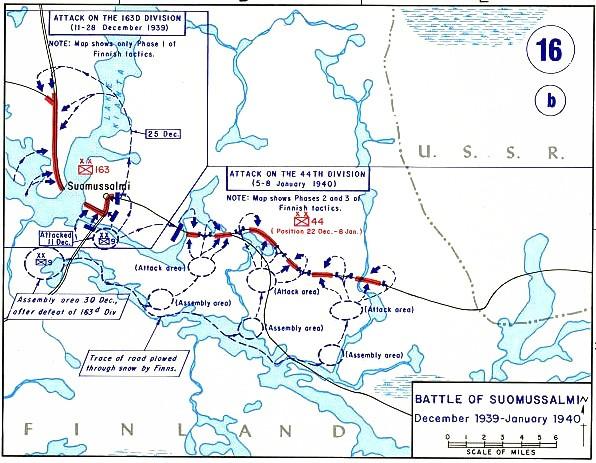 Схема действий РККА близ Суомуссалми