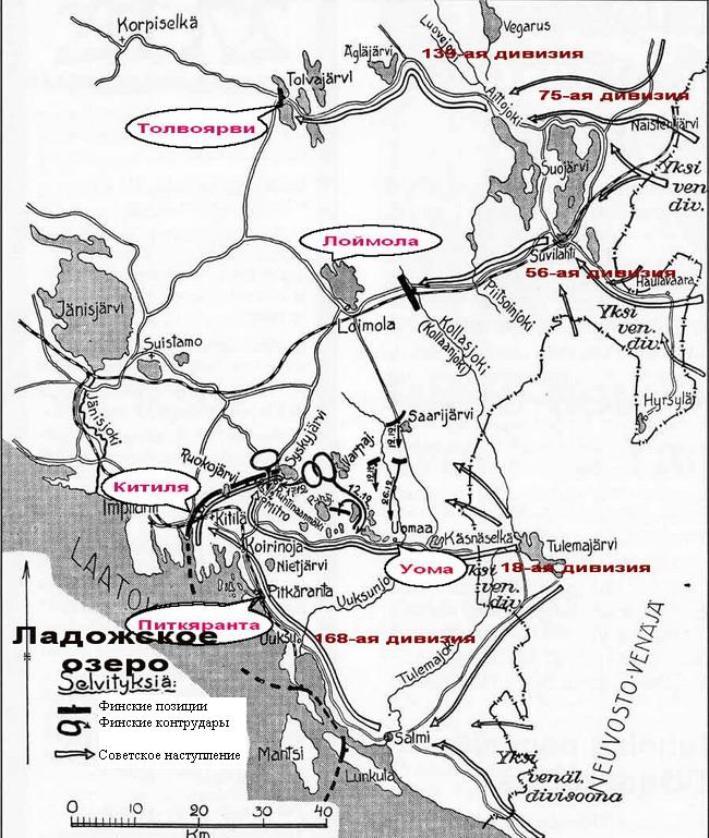 Схема действий РККА близ Толваярви