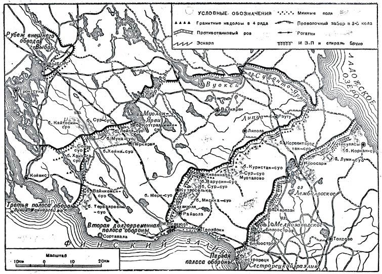 Схема оборонительных линий